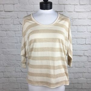Kardashian Kollection Beige & Gold Stripe Dolman